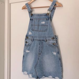 INSIGHT cute pinafore dress, distressed denim